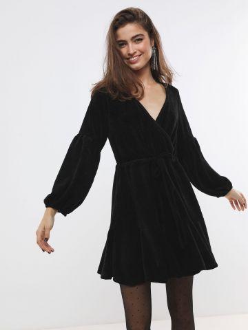 שמלת שניל מיני עם סיומת פפלום