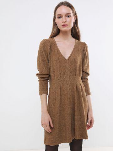 שמלת מיני דמוי צמר עם מותן מודגש של YANGA