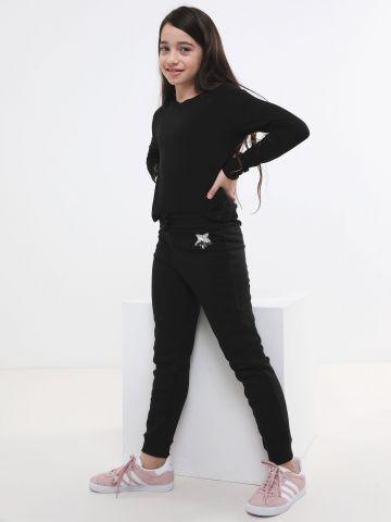 מכנסי טרנינג עם רקמת פאייטים בדוגמת כוכב