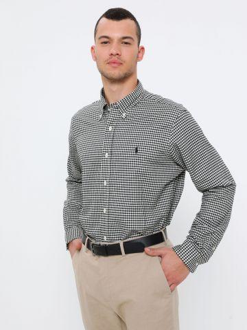 חולצת משבצות מכופתרת עם לוגו