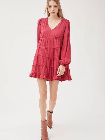 שמלת מיני קומות עם רקמת נקודות UO