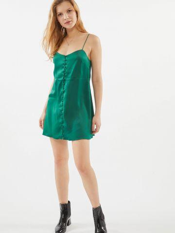 שמלת סאטן מיני עם כפתורים UO