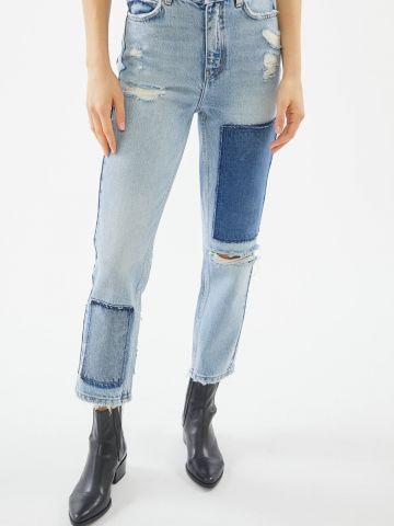 ג'ינס בגזרה ישרה עם פאצ'ים BDG Jackson