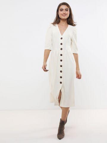 שמלת סריג מידי עם כפתורים