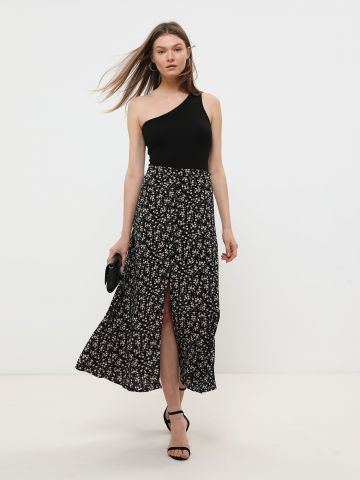 חצאית מקסי בהדפס פרחים עם שסע