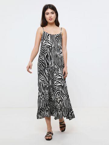 שמלת מקסי קומות בהדפס זברה