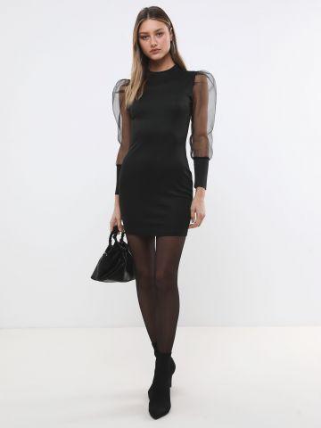 שמלת מיני עם שרוולי אורגנזה