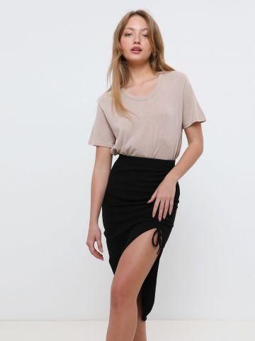 חצאית מידי אסימטרית עם שרוך של TERMINAL X