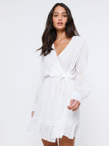 שמלת מיני שקפקפה בדוגמת נקודות