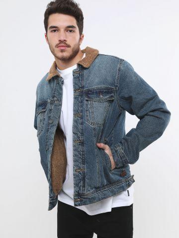 ג'קט ג'ינס עם בטנה דמוית צמר