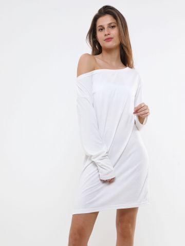 שמלה מיני חלקה עם צווארון סירה