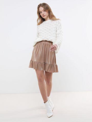 חצאית מיני נקודות מטאליות עם פפלום