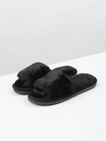 נעלי בית סלייד דמוי פרווה