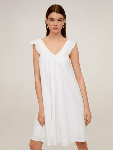 שמלת מיני פליסה בשילוב פשתן