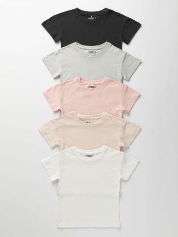 מארז 5 חולצות טי שירט בצבעים שונים / בנות