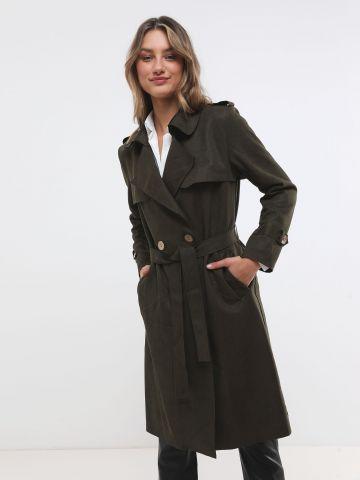 מעיל טרנץ' דמוי זמש עם חגורה