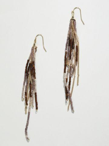 עגילי שנדליר עם חרוזים בעבודת יד