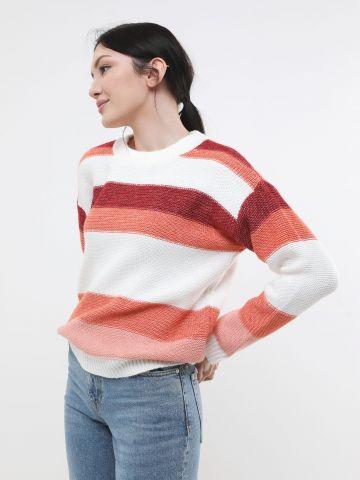 סוודר פסים מולטי קולור בשילוב צמר
