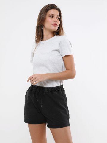 מכנסיים קצרים דמוי ג'ינס ווש