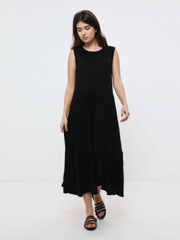 שמלת מקסי קומות בטקסטורת ריב