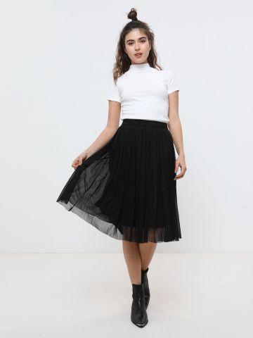 חצאית מידי פליסה עם טול