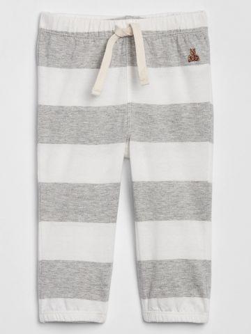 מכנסיים ארוכים בהדפס פסים עם רקמת דובי / 0-3M