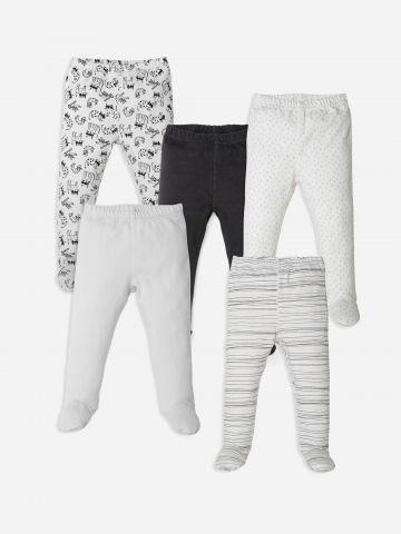 מארז 5 מכנסיים עם רגליות / 0-12M