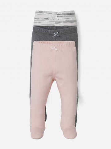 מארז 3 מכנסיים עם רגליות / 0-12M