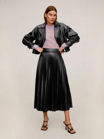 חצאית מידי דמוי עור פליסה