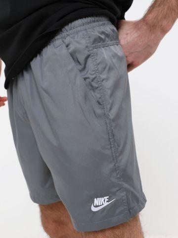 מכנסי ניילון קצרים עם רקמת לוגו