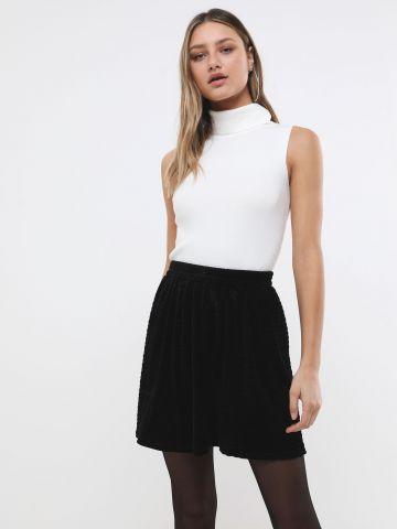 חצאית מיני שניל בטקסטורת וופל