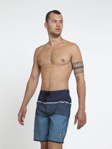מכנסי בגד ים קולור בלוק בהדפס פסים