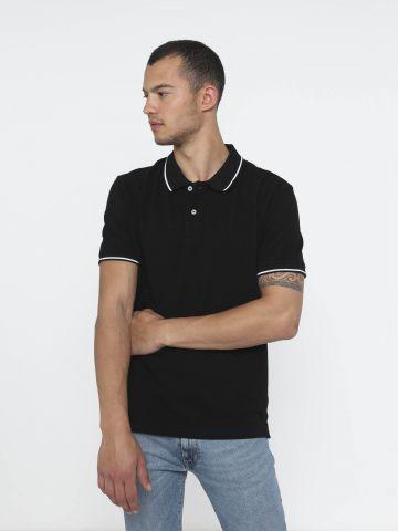 חולצת פולו עם שוליים מודגשים