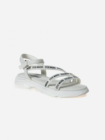 סנדלים עם רצועות לוגו רץ / בנות
