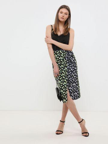 חצאית מידי מעטפת בהדפס פרחים