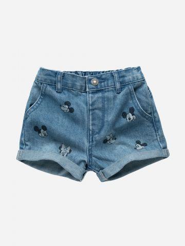 ג'ינס קצר בהדפס מיקי ומיני / 3M-3Y