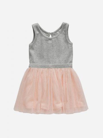 שמלת מיני ריב עם חצאית טול  / 3M-3Y