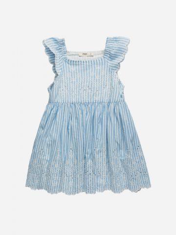 שמלה בהדפס פסים עם חירורים ומלמלה / 3M-3Y