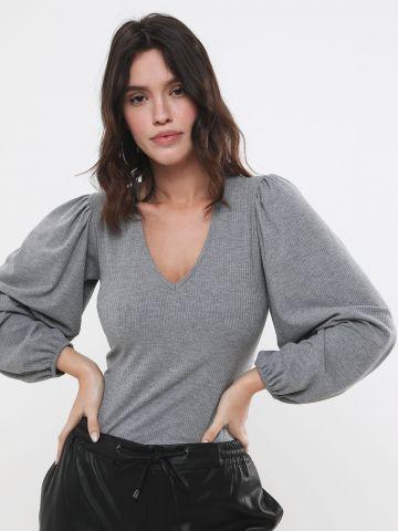 חולצת ריב עם שרוולים נפוחים
