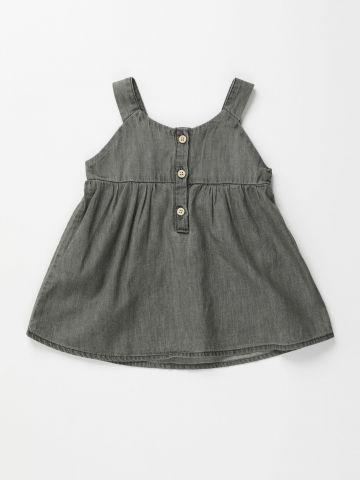 שמלת ג'ינס מיני עם כפתורים / 3M-3Y