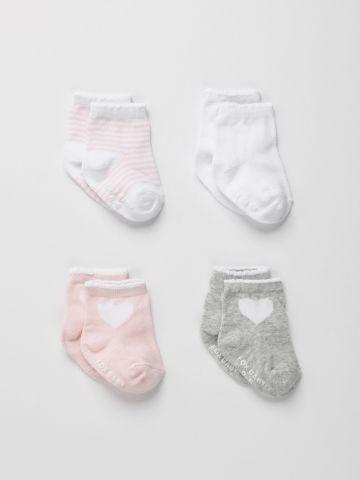 מארז 4 זוגות גרביים בצבעים שונים / 0-3Y