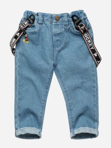 מכנסי ג'ינס עם כתפיות גומי מתכווננות / 3M-3Y