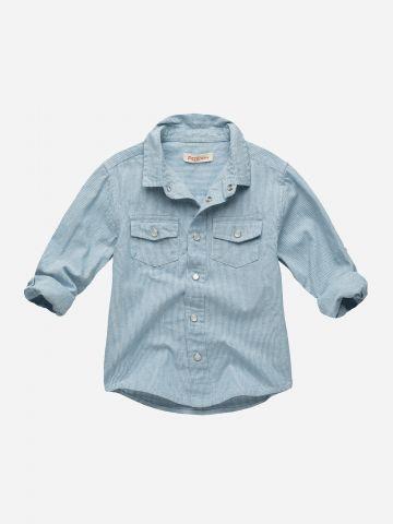 חולצה מכופתרת דמוי ג'ינס / 3M-3Y