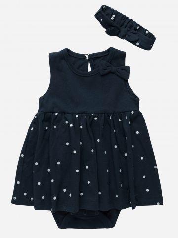 שמלת בגד גוף בהדפס נקודות עם פפיון וסרט / N.B-24M