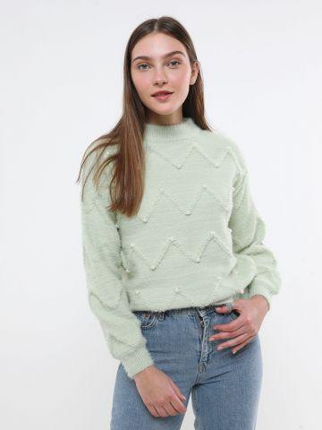 סוודר זיגזג עם פנינים