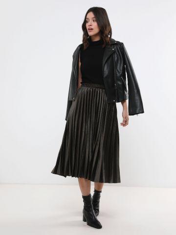 חצאית מידי פליסה מקטיפה