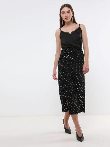 חצאית מידי בהדפס מטאלי עם שסע X שושיין
