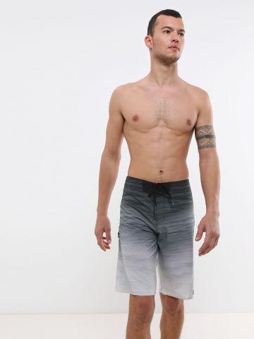 מכנסי בגד ים בהדפס פסים אומברה Boardshorts