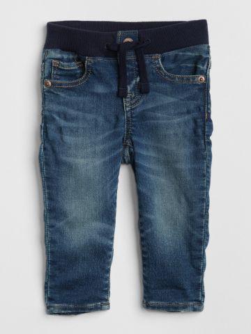 מכנסי ג'ינס בשטיפה כהה עם גומי / N.B-24M