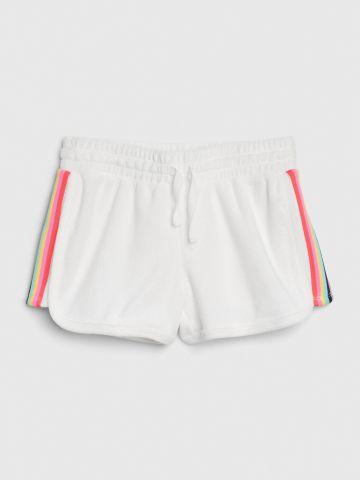 מכנסי טרנינג קצרים עם פסים צבעוניים / בנות